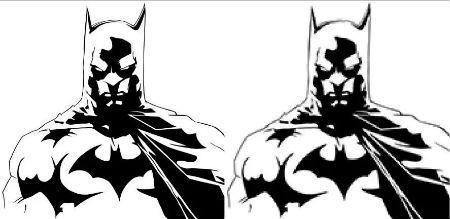 Batman antes y después de vectorizar